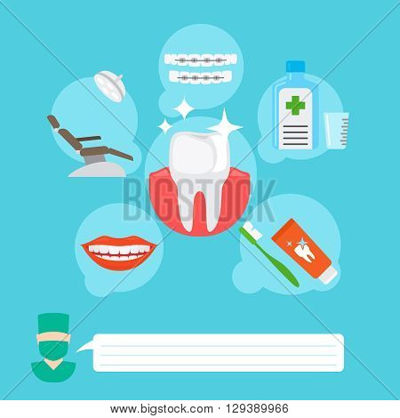 Dental health care and oral hygiene infographic concept. Vector illustration
