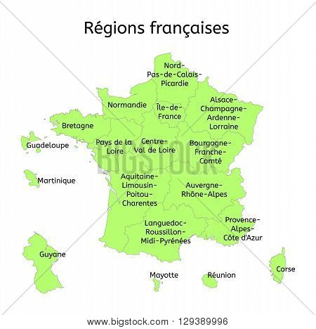 France administrative map with new regions with original french names on white