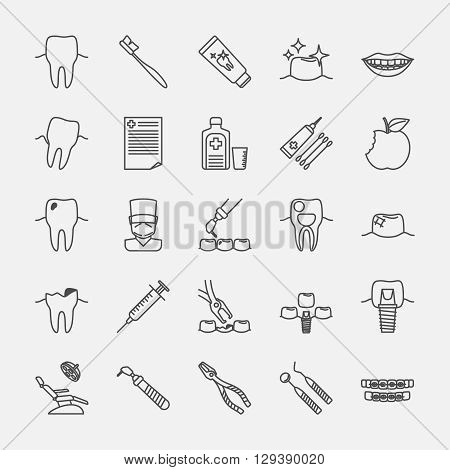 Dental clinic line icons, oral hygiene and dental health care signs. Vcetor illustration