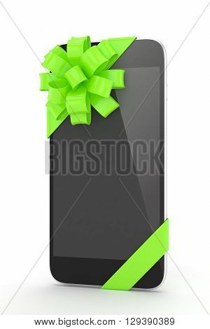 Black phone with green bow. 3D rendering.