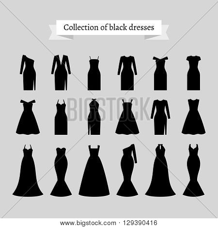 Vintage dresses vector. Black retro dresses silhouettes