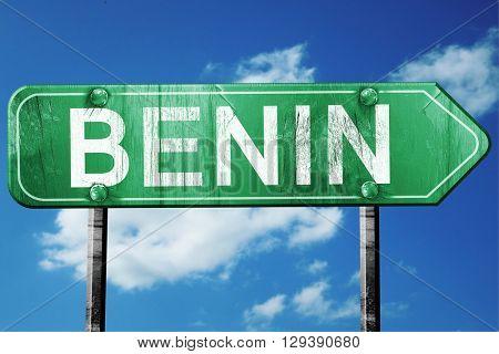 Benin, 3D rendering, a vintage green direction sign