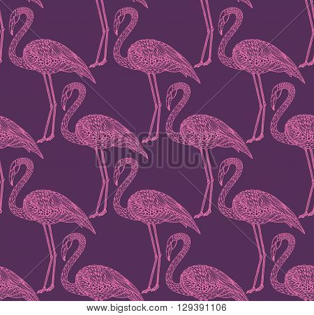 Seamless pattern with hand drawn flamingo birds in ornate fancy doodle style. Vector endless background.