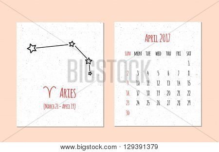 Vector calendar for 2017 in the zodiac style Calendar for the month of April with the image of the Aries constellation on beige scratched background Elements for creative design ideas of your calendar