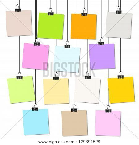 Colored Papers With Binder Clips