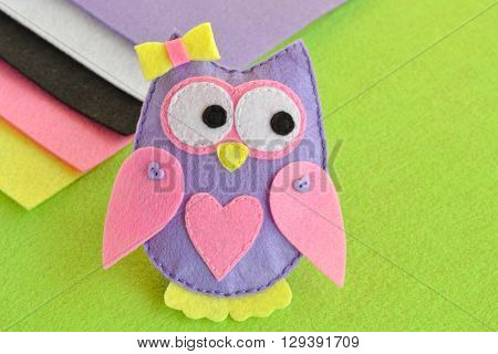 Soft toy felt owl, sewing, kids crafts