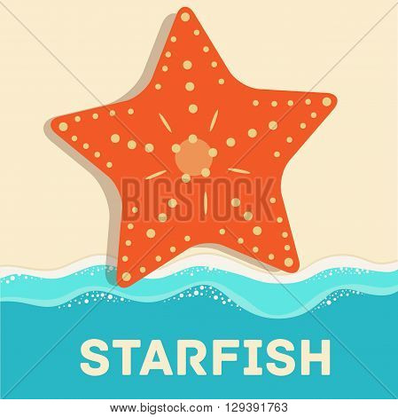 Retro Flat Starfish Icon Concept. Vector Illustration Design