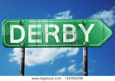 Derby, 3D rendering, a vintage green direction sign