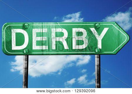 Derby, 3D rendering, a vintage green direction sign