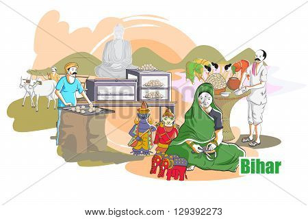 easy to edit vector illustration of people and culture of Bihar, India