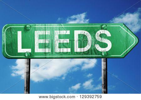 Leeds, 3D rendering, a vintage green direction sign