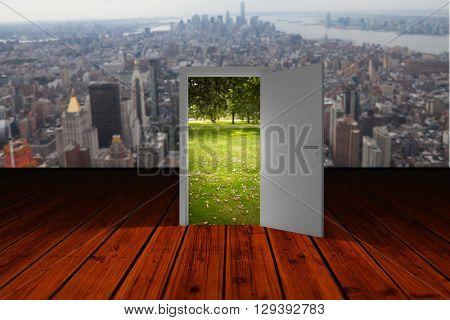 Illustration of open door against wooden planks