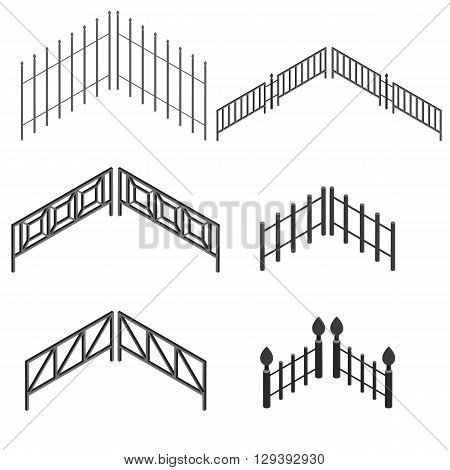 Iron fence in isometric. The metal fence. Set urban decorative elements. Vector illustration.
