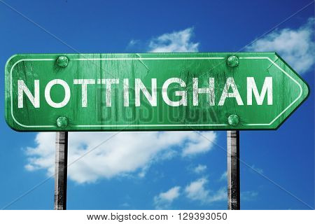 Nottingham, 3D rendering, a vintage green direction sign