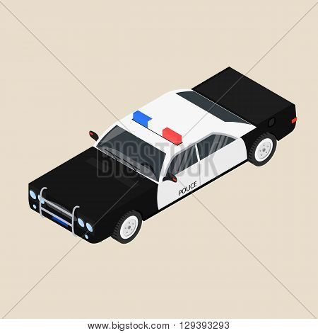 Police car. Black and white sedan. The patrol vehicle. Vector illustration.