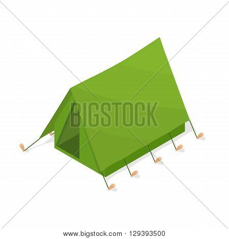 Green tourist tent in the isometric. A camping weekend. Accommodations in the forest. Element of tourism hunting and fishing. Active holiday. Vector illustration.