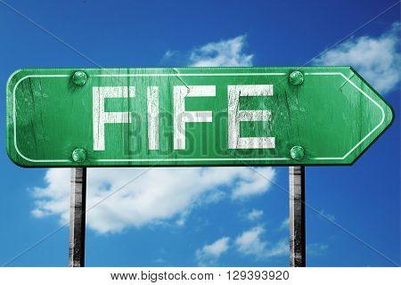 Fife, 3D rendering, a vintage green direction sign
