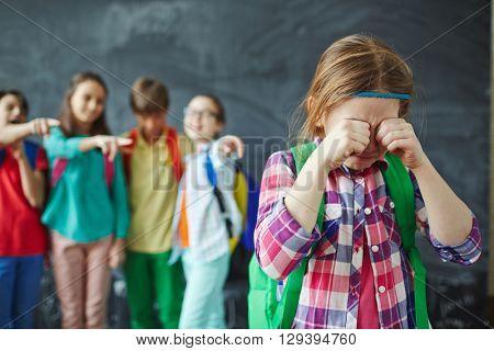 Crying schoolgirl