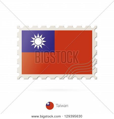Postage Stamp With The Image Of Taiwan Flag.