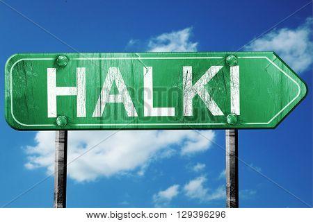 Halki, 3D rendering, a vintage green direction sign