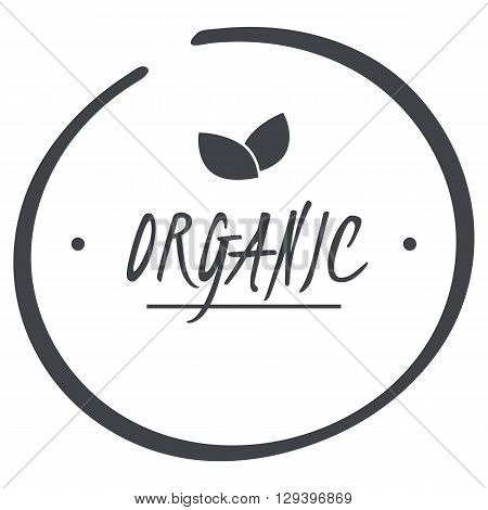 vector grey organic circle logo symbol with leaves for food