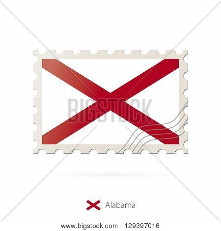 Postage Stamp With The Image Of Alabama State Flag.