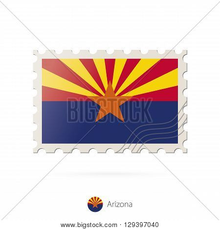 Postage Stamp With The Image Of Arizona State Flag.