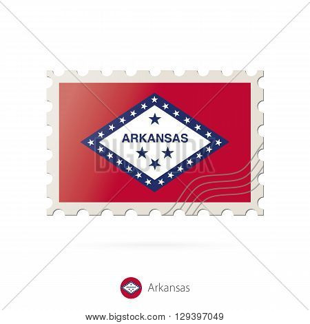 Postage Stamp With The Image Of Arkansas State Flag.