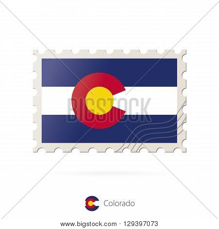 Postage Stamp With The Image Of Colorado State Flag.