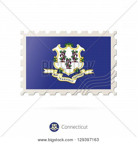 Postage Stamp With The Image Of Connecticut State Flag.