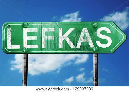 Lefkas, 3D rendering, a vintage green direction sign