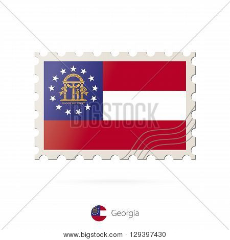 Postage Stamp With The Image Of Georgia State Flag.