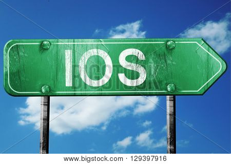 Ios, 3D rendering, a vintage green direction sign