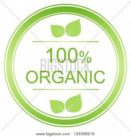100 percent organic label. Vector organic image.