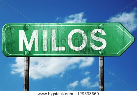 Milos, 3D rendering, a vintage green direction sign