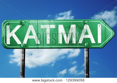 Katmai, 3D rendering, a vintage green direction sign