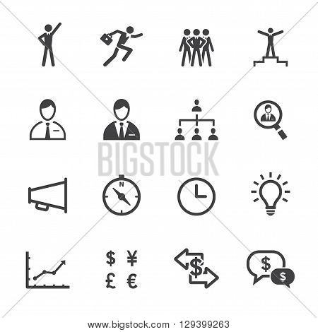Finance and Human Resource icon set with White Background