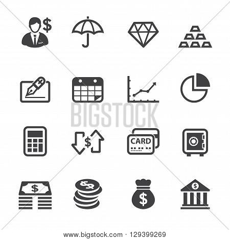 Finance and Business icon set with White Background