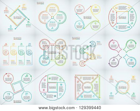 Thin line flat elements set for infographic. Template for diagram, graph, presentation and chart. Business concept with 4 options, parts, steps or processes. Data visualization.