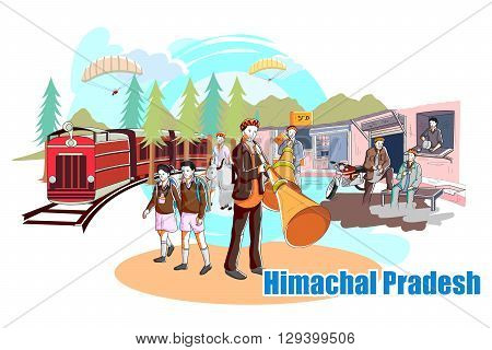 easy to edit vector illustration of people and culture of Himachal Pradesh, India