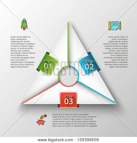 Vector triangle infographic. Template for cycle diagram, graph, presentation and chart. Business concept with 3 options, parts, steps or processes. Data visualization.