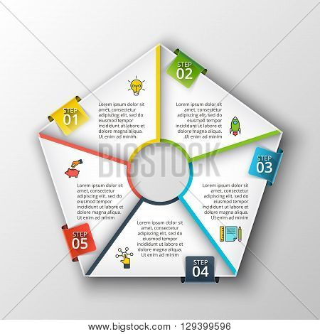 Vector pentagon infographic. Template for cycle diagram, graph, presentation and chart. Business concept with 5 options, parts, steps or processes. Data visualization.