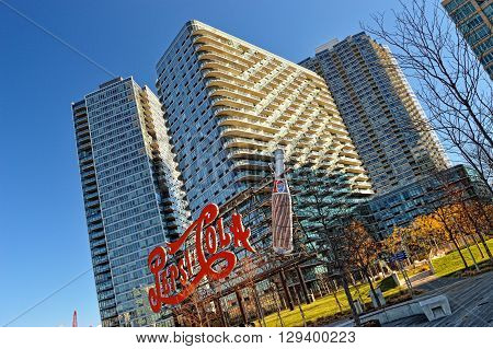 New York City USA - December 15 2015: Pepsi Cola sign on the banks of the East River in Long Island City Queens NY USA.