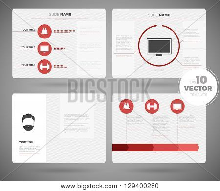 Business presentation White template set. Powerpoint template design background. Editable vector slide templates modern white design
