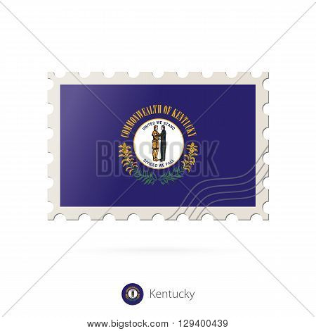 Postage Stamp With The Image Of Kentucky State Flag.