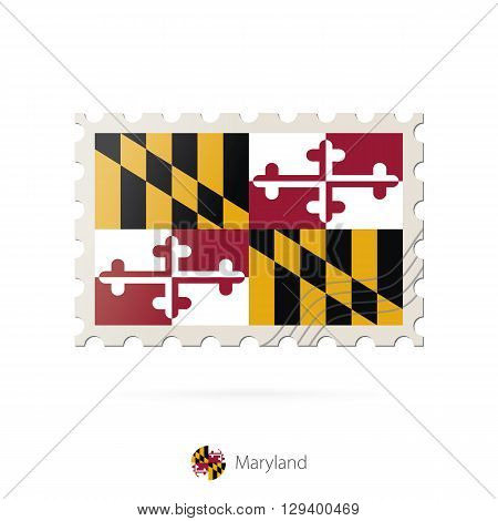 Postage Stamp With The Image Of Maryland State Flag.