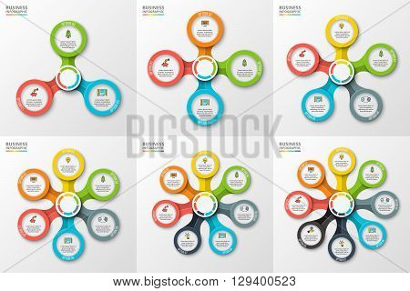 Vector infographic design template. Business concept with 3, 4, 5, 6, 7 and 8 options, parts, steps or processes. Can be used for workflow layout, diagram, number options, web design.
