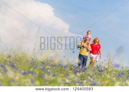 Family having walk on meadow with flowers, daddy is carrying his daughter piggyback