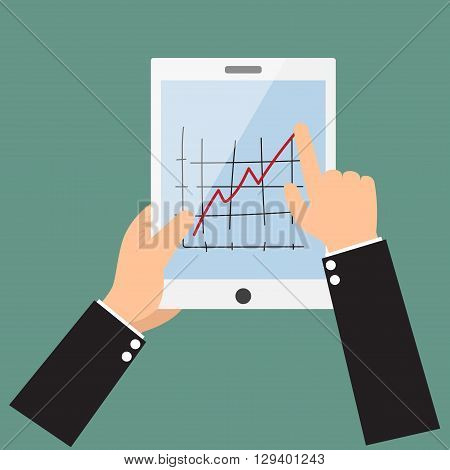 Cartoon businessman hands are holding and point on touch screen device.