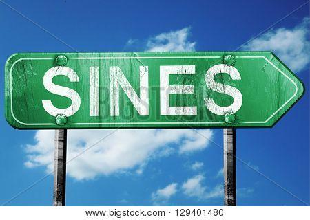 Sines, 3D rendering, a vintage green direction sign